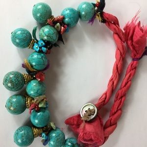 Jewelry - Pink & turquoise bead statement necklace